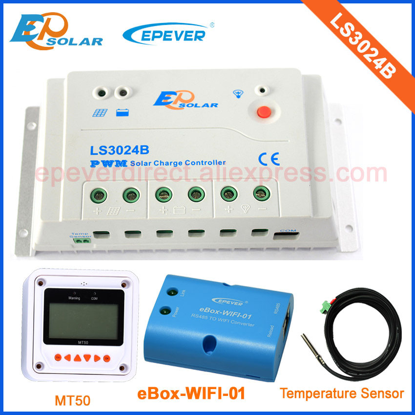 Free shipping!Mini solar controller LS3024B 30A 30amp with MT50 remote meter and USB wifi function+temperature sensor solar charger 24v 12v auto work ls3024b 30a with wifi function box mt50 remote meter and usb cable free shipping