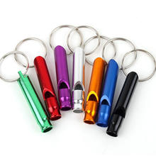 10pcs/lot Mixed Aluminum Emergency Survival Whistle Keychain For Camping Hiking(China)