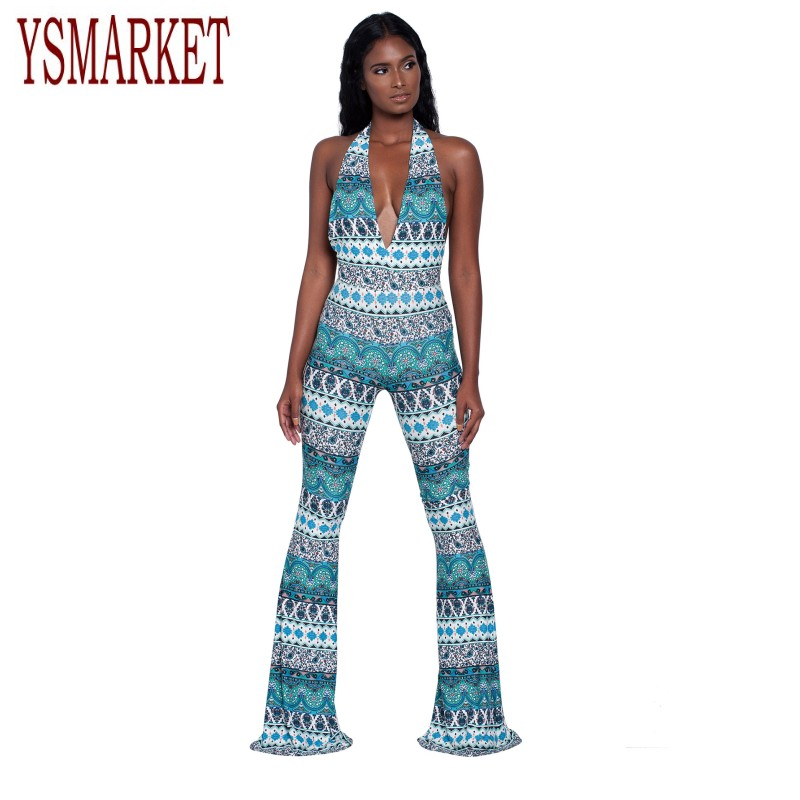 YSMARKET Summer Sleeveless Halter Wide Leg Jumpsuits For Women Ethnic Print Deep