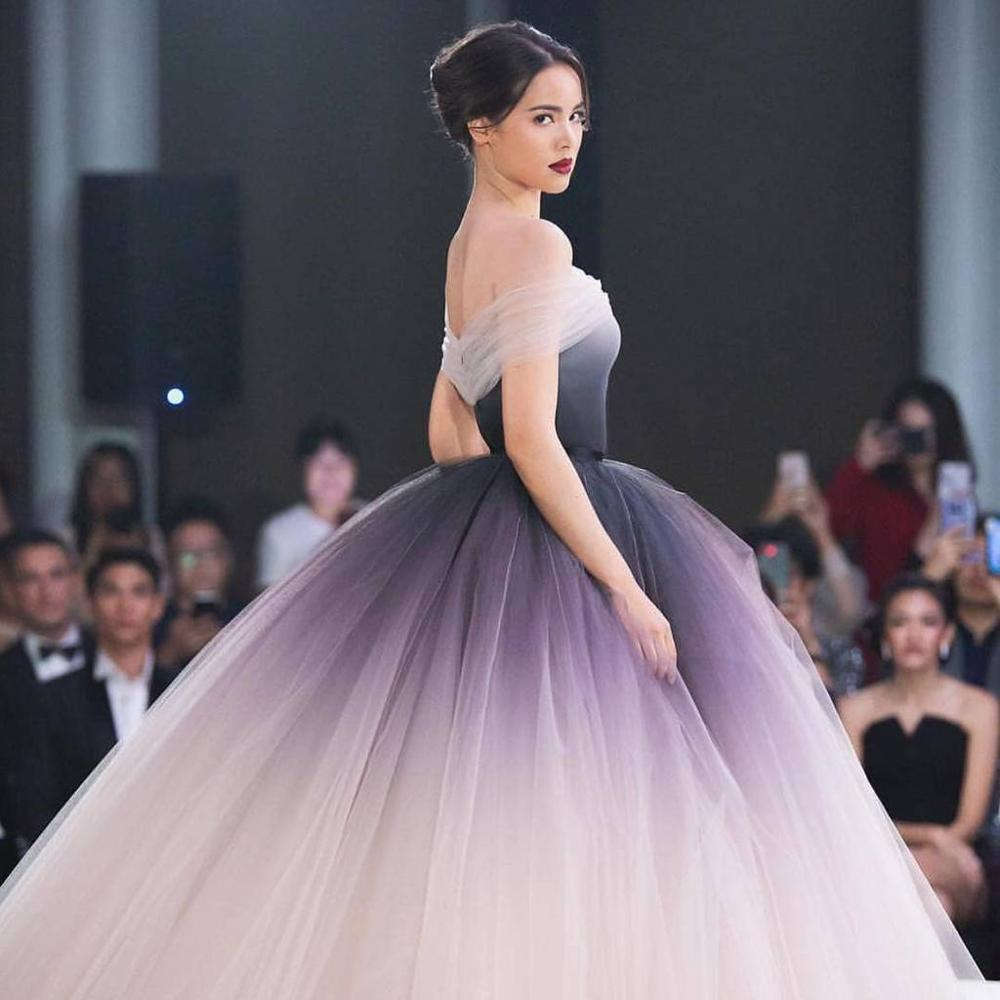 Ombre Wedding Gown: Off The Shoulder Ombre Prom Dresses 2019 Unique Ball Gown