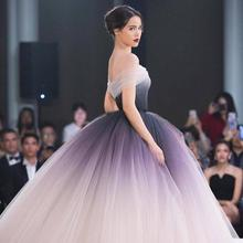 Off the Shoulder Ombre Prom Dresses 2019 Unique Ball Gown Lo