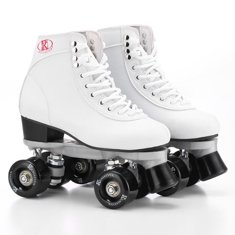 Roller Skates Double Line White Skates Black Wheel Men Women Unsex Model Adult Racing 4 Wheels Two line Roller Skating Shoes reniaever double roller skates skating shoe gift girls black wheels roller shoe figure skates white free shipping