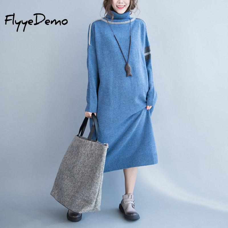 US $22.42 30% OFF|2019 Autumn Winter Vintage Women Knitting Sweater Dress  Plus Size Long Sleeve Dress Elegant Turtle Neck Loose Straight Dresses-in  ...