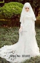 Oumeiya OW515 Handmade Flowers Beaded High Neck Long Sleeve Sheath Muslim Hijab Bridal Wedding Dress 2016