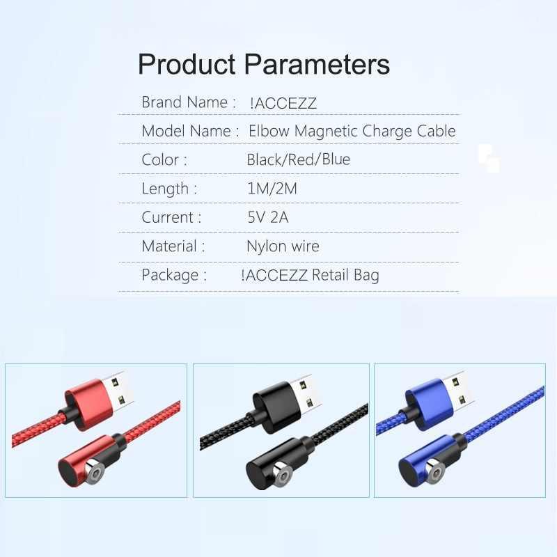 ! ACCEZZ magnetyczny kabel do ładowania dla iPhone 7 X XS XR typu C Micro USB dla Huawei Samsung Xiaomi magnes ładowania szybka ładowarka kabel