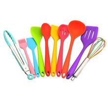 10 PCS Colorful Non-Stick Pot Shovel Spoon Heat-Resistant Kitchen Utensils Whisk Environmentally Friendly Cooking Silicone Tool