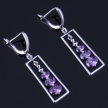 Stylish Oval Purple Cubic Zirconia 925 Sterling Silver Drop Dangle Earrings For Women V0834
