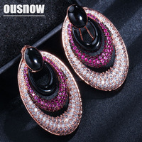 OUSNOW brand AAA zircon drop earrings hypoallergenic retro oval exaggerated fashion earrings suitable for women to party party
