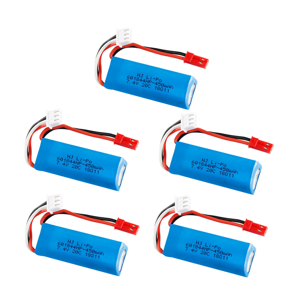 7.4V 450mAh 20C Lipo Battery for WLtoys K969 K979 K989 K999 P929 P939 RC Car Parts 2s 7.4v Battery 5pcs/lots