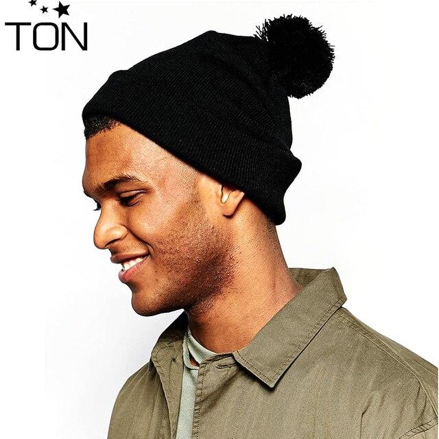 Men and Women Skullies woolen big fur pompon fluffy hats Adult winter  ponpon caps pompom female knitted Beanie girls 53662793d88