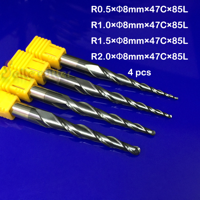 4PCS Assorted R0.5&1.0&1.5&2.0mm *2F*D8*L85 HRC55 Tungsten Tapered Ball Nose End Mills and cone cutter CNC Taper Milling Cutter