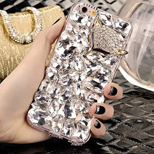Image 2 - LaMaDiaa Bling Strass Cristal Diamant Renard et Couronne Arrière Souple Housse de Téléphone Pour iPhone 12 11 Pro Max XR X 6 Plus 7 8 Plus