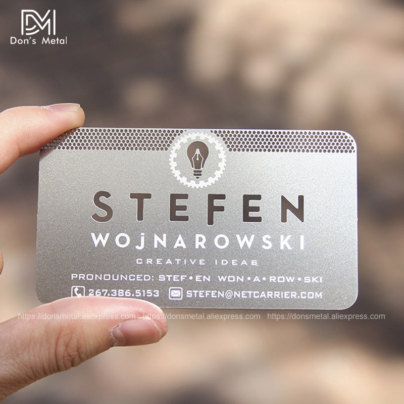Personalized Quality Letter Stainless Steel Cutout Business Metal Card
