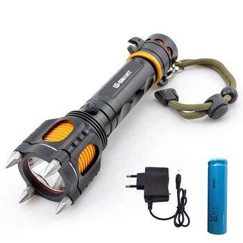 Potężne latarka led XmL T6 taktyczne obronne Latarka led wielofunkcyjny Flash lekka latarka + 18650 bateria + ładowarka