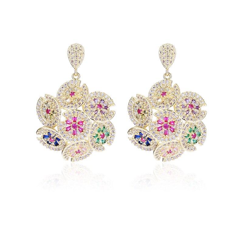 XIUMEIYIZU Trendy Vintage Luxury Flower Shape Pendant Earrings Big Earrings Women's Party Wedding Jewelry