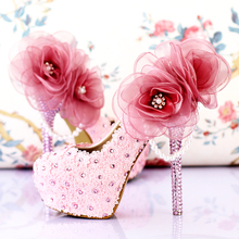 Fashion Wedding Shoes Bridal Pumps Women's Girl Pink Crystal Rose Flower Evening Party Shoes red High Heels
