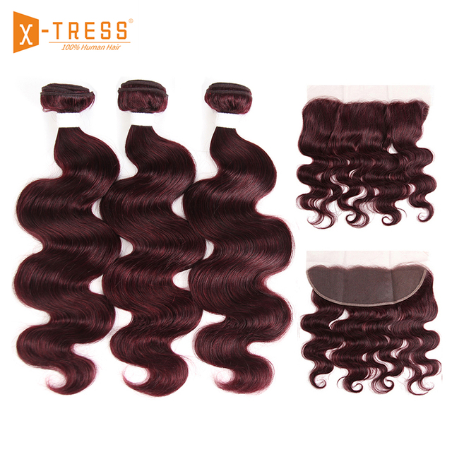 Body Wave 13x4 Lace Frontal With Human Hair Weave 3/4 Bundles X-TRESS 99J/Burgundy Red Color Brazilian Non-Remy Hair Weaving