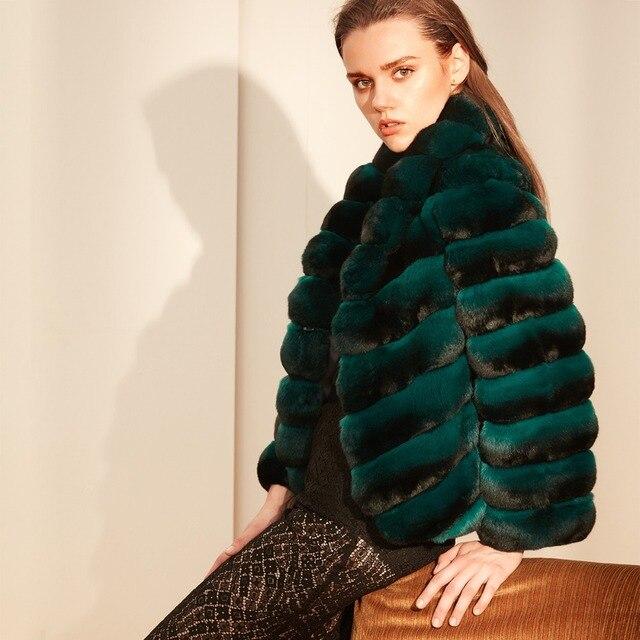 Arlenesain custom women short gem green chinchilla fur coat. 835