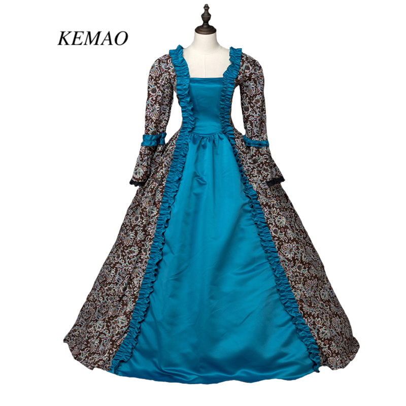 Renaissance viktorianisches Zeitraum Kleid Antike Blumendruck Kleid ...