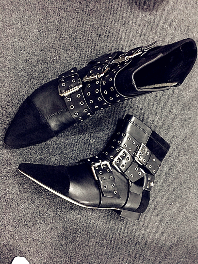 2017 Top Selling Black Dress Shoes Women Pointed Toe Flat Booties Patchwork Buckle Strap Ankle Boots wholesale Drop Shipping