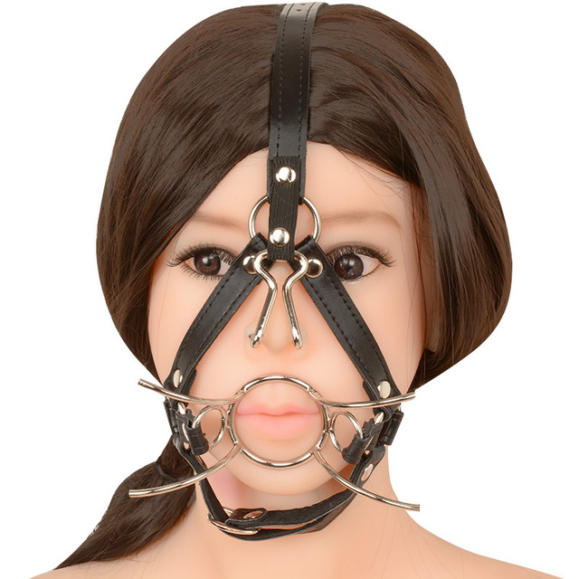 Chastity Locks Metal Mouth Ring Open Gag Ball Gag With Nose Hook bdsm toys Sex Mouth Plug Full Head lock  home Decro ornament