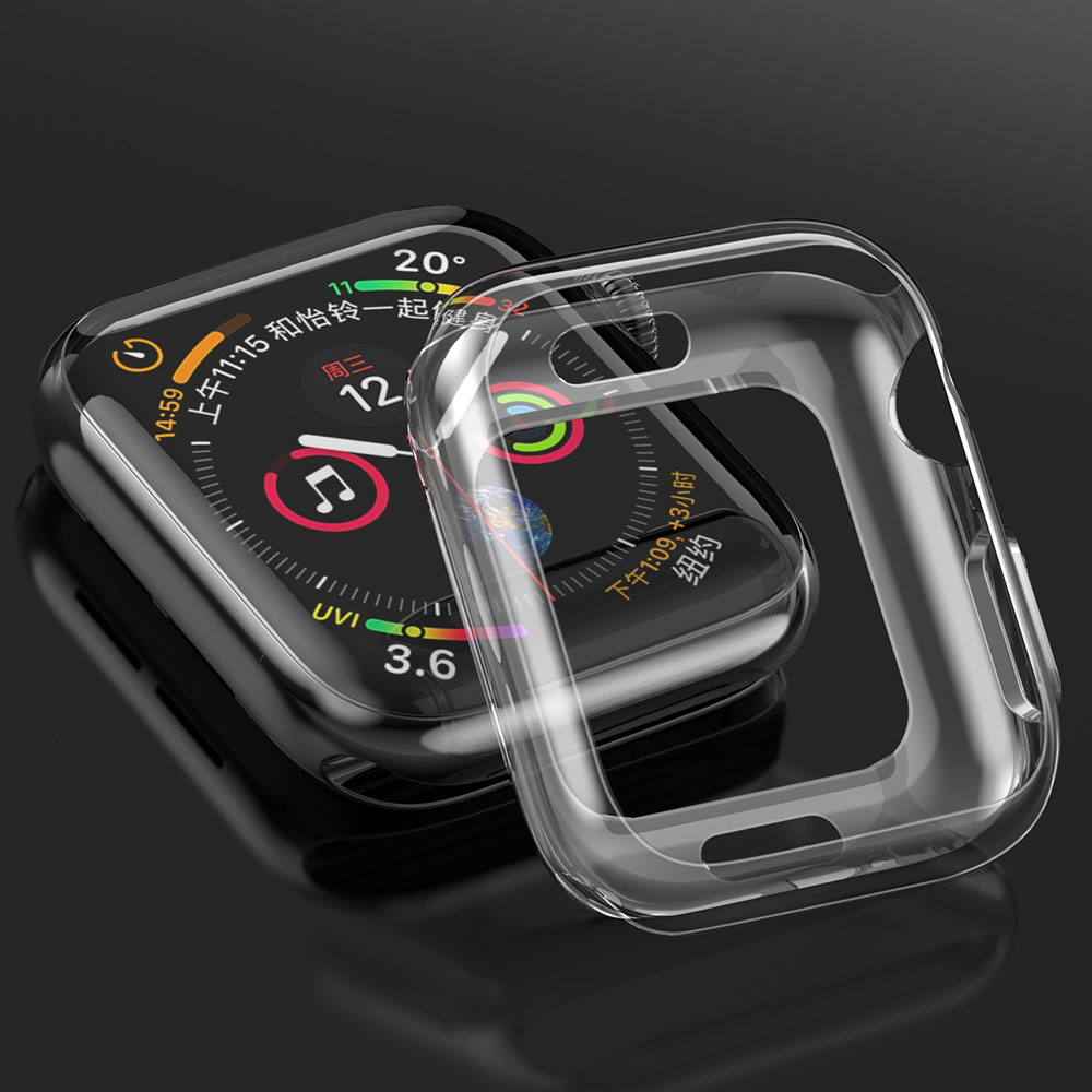 Protector Frame for Apple Watch Series 4 Case 40mm 44mm Clear Soft TPU Bumper Cases for iWatch Ultra-Thin Protective Cover