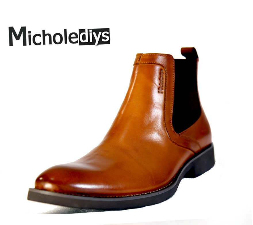 Micholediys New Arrival Spring Handmade Chelsea Boots Platform Rubber Boots Zapatos Mens Dress Wedding Party Shoes Big plus Size new arrival spring and autumn pink pearl wedding shoe up heel platform shoes woman party shoes luxury handmade shoes