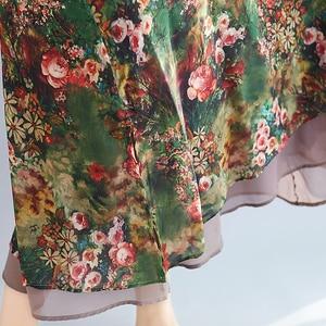 Image 5 - Женское винтажное шифоновое платье BelineRosa, летнее платье большого размера плюс с цветочным принтом, 4XL, 5XL, XMR00107