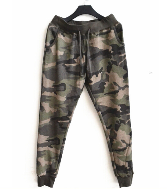 High Quality Women 'S Casual Loose 100 %Cotton Elastic Waist Camouflage Harem Pants Pants Army Green Sweatpants