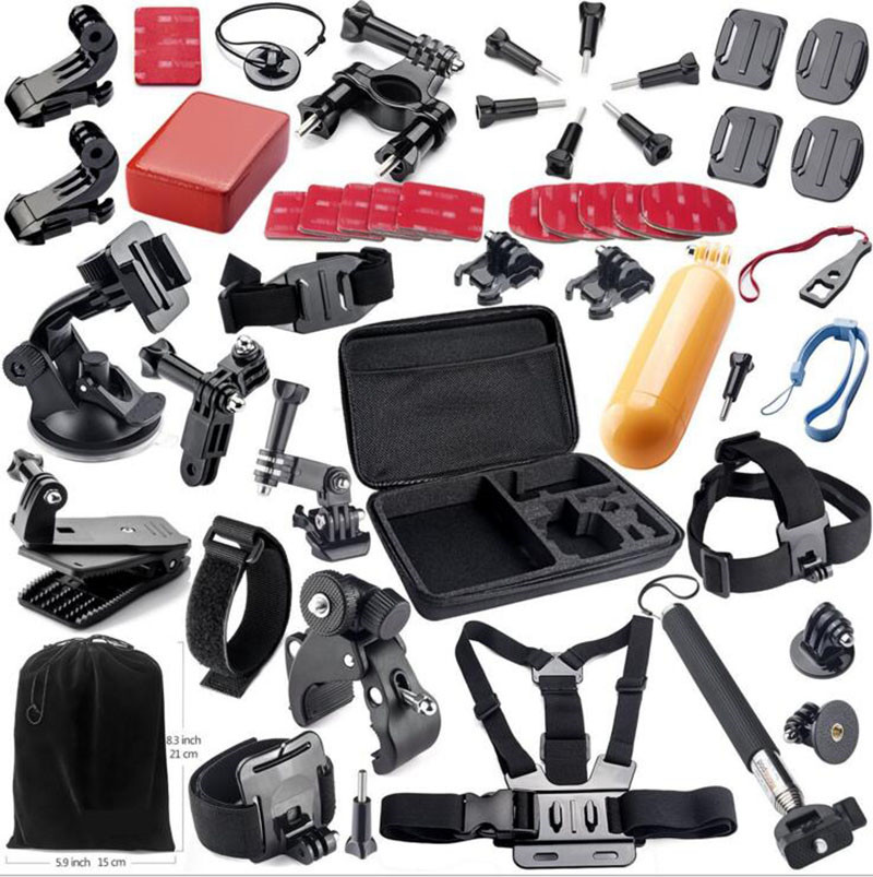 Pcs Kit 54 SJCAM SJ4000 SJ5000 7 SJ7000 Pacote Conjunto de Ação Acessórios Da Câmera Para Gopro Hero/6/5 /4/3/3 +/2/1 SJCAM XIAOMI YI