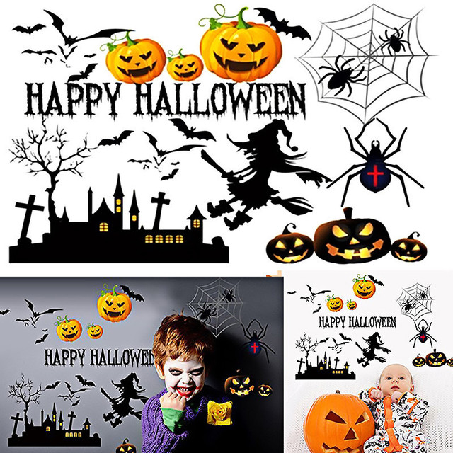 2017 New Halloween Wall Stickers Bedroom Living Room Window Decals Creative Self Adhesive Art Mural Picture Home Decor Wallpaper