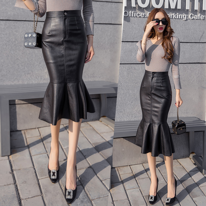 db0752cc5d Sexy High Waist Faux Leather Skirt Jupe Saias Women Autumn Winter Long Skirts  Leather Pencil Trumpet Black Skirt Faldas Mujer -in Skirts from Women's ...