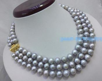 9-10 mm natural south Gray pearl necklace 17-19inch Yellow clasp