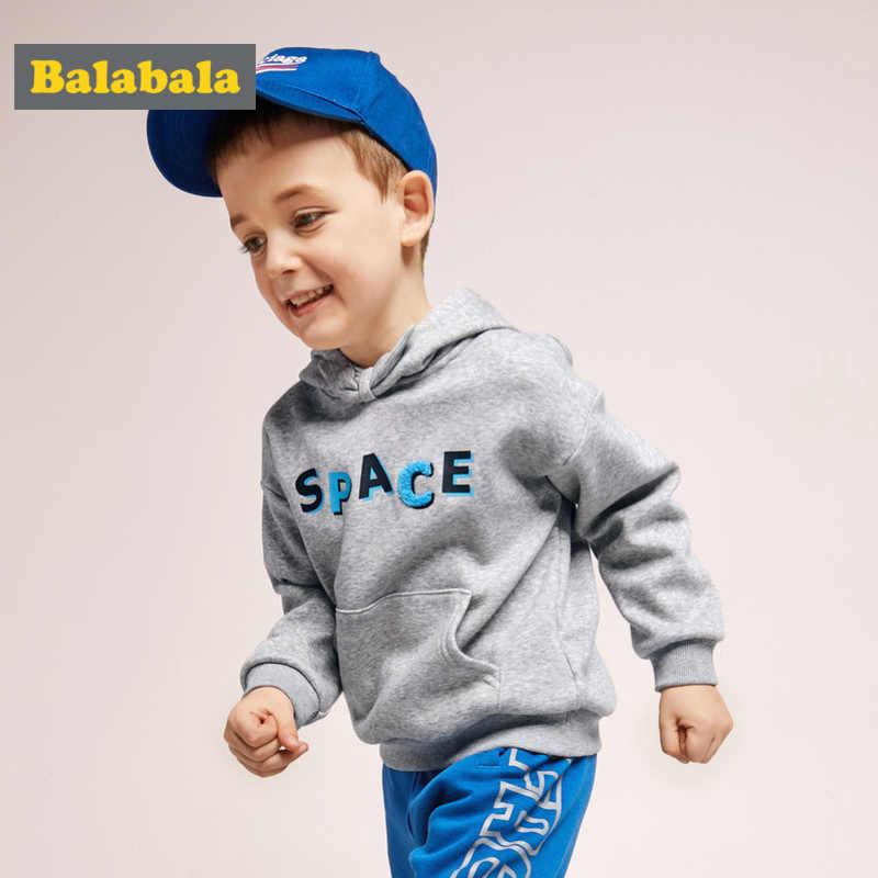 Balabala Peuter Jongen Fleece-Gevoerde Capuchon met Kangoeroezak Kids Pullover met Boog Knoop Geribbelde Manchet en zoom