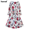 Tonval Autumn Winter Vintage Dress for Women Long Sleeve Floral Rockabilly Dress Retro 1950s Swing Pleated Dress
