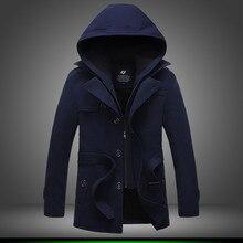2017 мужской зимней моды полноценно однобортный траншеи пальто/Мужской чистый цвет кашемир куртка с капюшоном Большой размер S-4XL длинное пальто