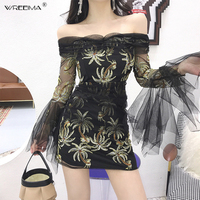 wreeima black Pink Mesh Butterfly Sleeve Floral Embroidery Dress Solid Party Dress 2019 Spring autumn Women Sexy Bodycon Dress