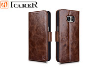Original ICARER Oil Wax Genuine Leather Wallet Case For samsung galaxy s7 edge Detachable 2 in 1 Flip Back Cover Magnetic Strap