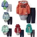 Bebê hoodies casaco esporte + bodysuit + pants 3 pcs roupas sets Originais Meninos Jaqueta crianças da menina da criança roupas de grife