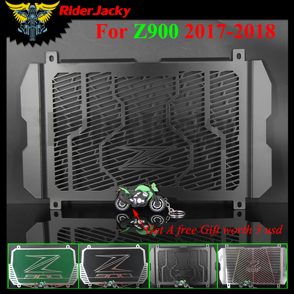 RiderJacky With Z900 LOGO Motorcycle Radiator Guard Stainless steel Cover Protector Guard For Kawasaki Z900 Z 900 2017 2018