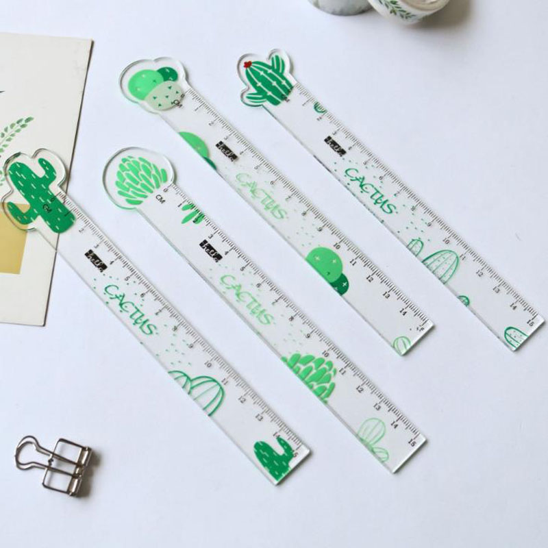 1 Pcs Lytwtw's Kawaii Simple Transparent Carrot Cactus Plastic Ruler Measuring Straight Ruler Tool Student Gift Stationery(China)