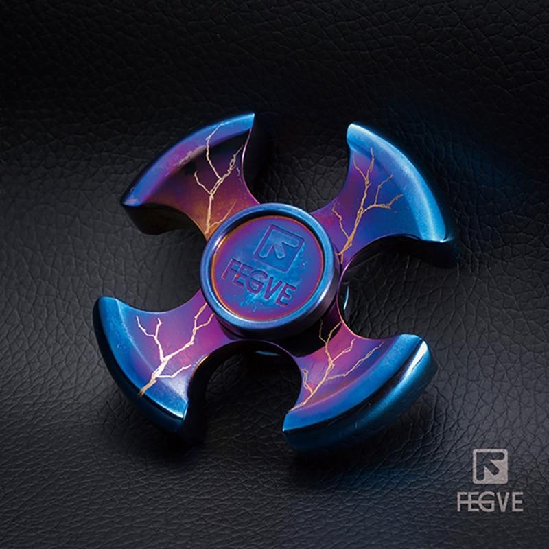 FEGVE Titanium Alloy Grilled Blue Fidget Spinner Hand Spinner Metal Four Leaf Meteorite Pattern EDC 688 Bearings Toys FG36