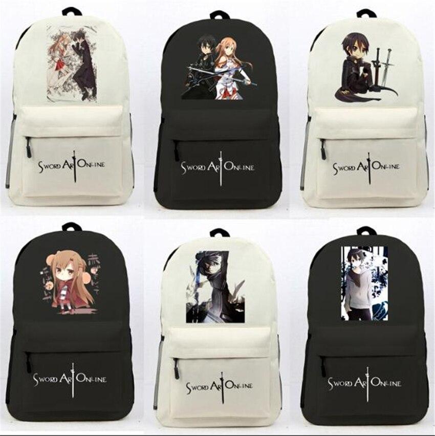 Fashion Cartoon Women Men Laptop Shoulders Bags Travel Bag Sword Art Online  SAO Kirigaya Anime Backpack 28d4691384efe