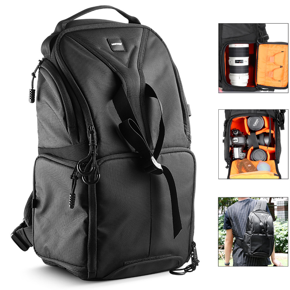 Neewer camera bag 24.9x20x42.9 cm shoulder backpack Durable Waterproof Black for Nikon Canon Pentax Sony Olympus DSLR