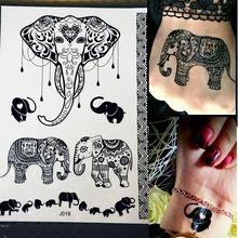 1PC Women Wedding Henna Flash Temporary Tattoo Sticker Black Elephant Ganesha Design Waterproof Fake Tattoo Elephant Chain PBJ18