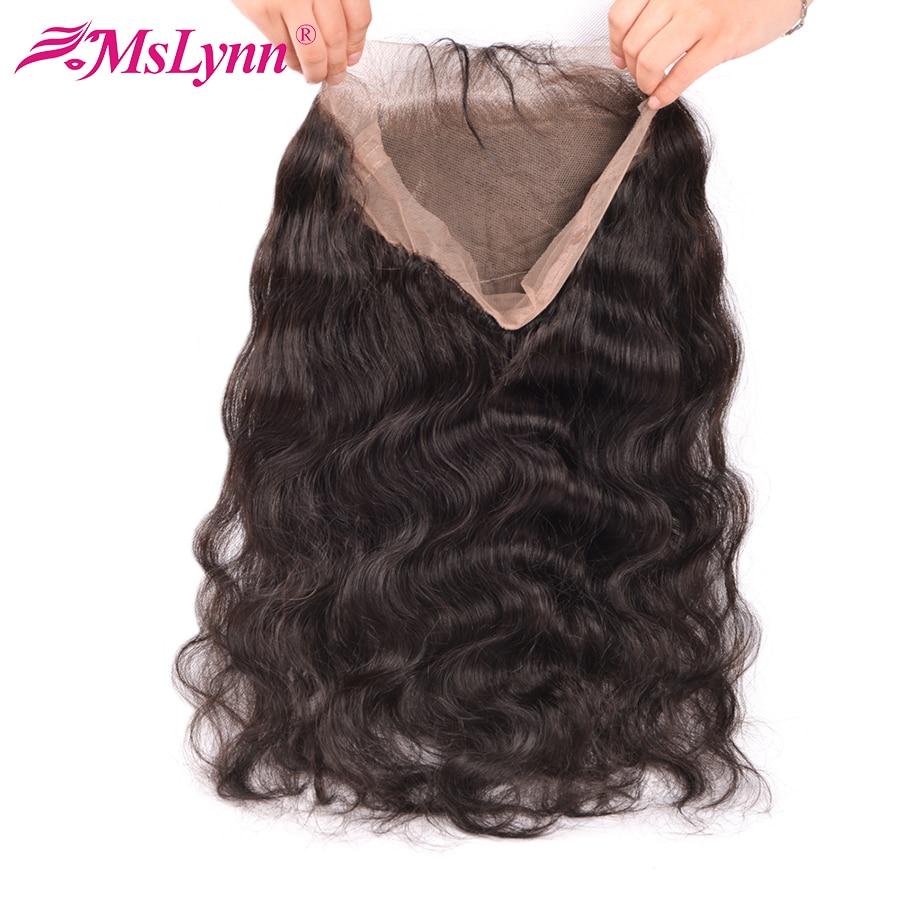 Pre Plucked 360 ลูกไม้ด้านหน้าปิดด้วย Baby Hair Peruvian Body Wave ฟรี Mslynn Remy Human Hair Bundles-ใน ส่วนปิด จาก การต่อผมและวิกผม บน AliExpress - 11.11_สิบเอ็ด สิบเอ็ดวันคนโสด 1