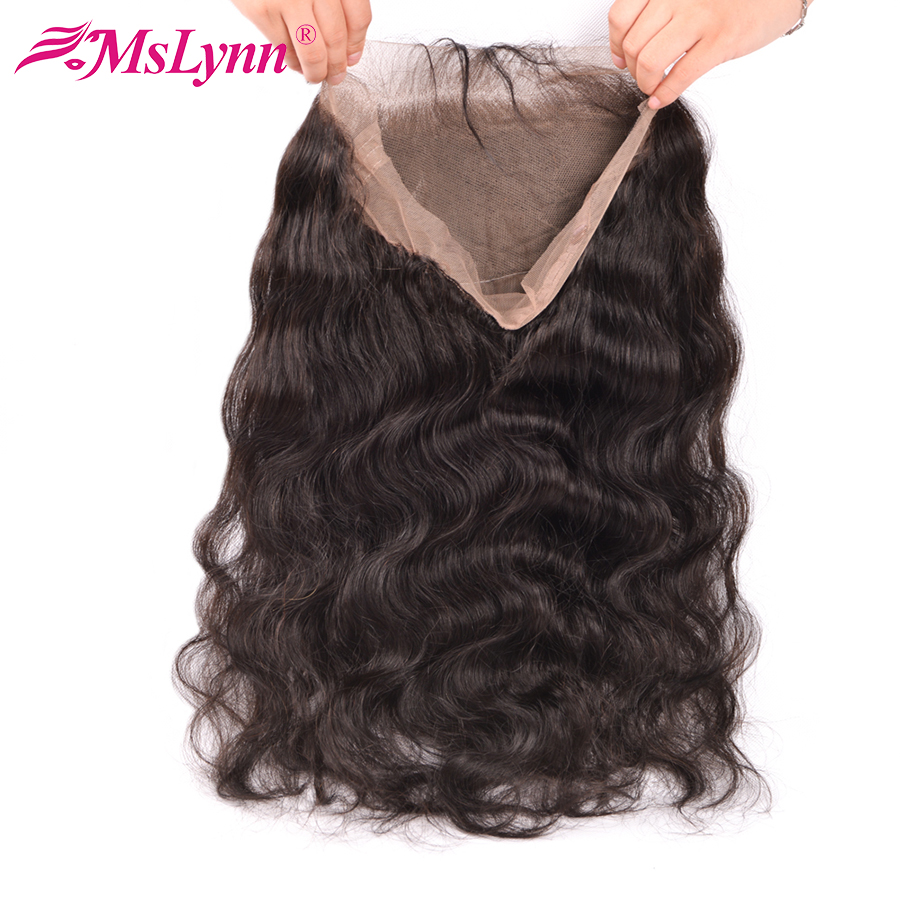 Pre Plucked 360 Lace Frontal Closure Med Baby Hair Peruvian Body Wave Closure Free Part Mslynn Non Remy Human Hair Bundles