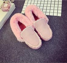 Free shipping!!!   fall and winter 2016 Europe and the United States women's shoes black shoes flat warm female and velvet shoes
