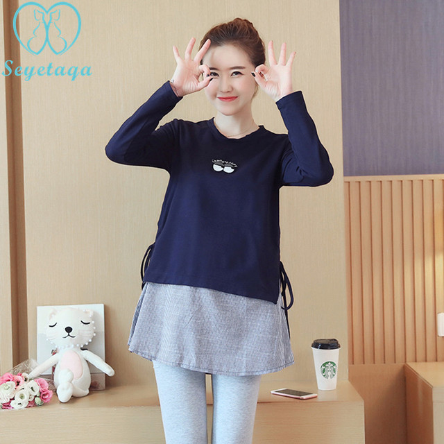 1846# 2019 Autumn Korean Fashion Maternity Shirts Long Sleeve A Line Patchwork Clothes for Pregnant Women Pregnancy Tops Tunic