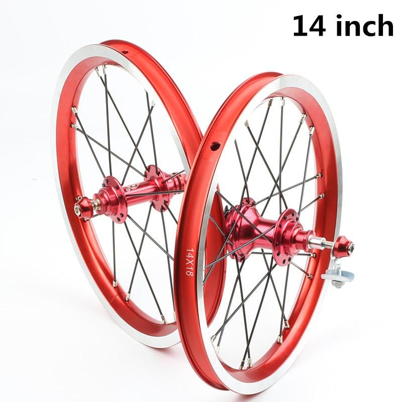 HIMALO Alloy Bicycle Wheelset 14 Inch Single Speeds 9T BMX Wheels Folding Bike 5 Bearings Wheel V Brake Ultra-Light Bike Parts стоимость